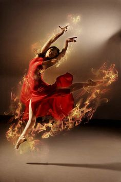 ♫♪ Dance ♪♫ Lady in red on fire flame dance by ~robinpika
