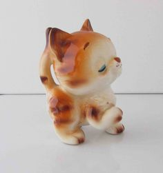 Retro Kitten Tabby Cat Chibi Figurine Giftcraft Japan Numbered 4 Inches