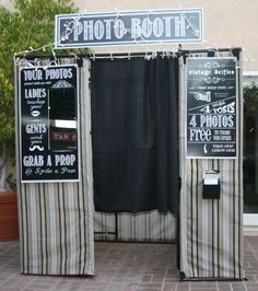 fairly detailed instructions for a photo booth made from pvc pipe and outdoor fabric, signs included