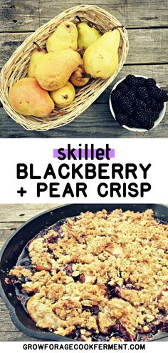 Skillet Pear and Blackberry Crisp: Late summer and fall is when pears are ripe is the perfect time to make this skillet pear and blackberry crisp! Blackberry Crisp, Pear Crisp, Just Desserts, Delicious Desserts, Real Food Recipes, Healthy Recipes, Food L, Cast Iron Cooking, Summer Fruit