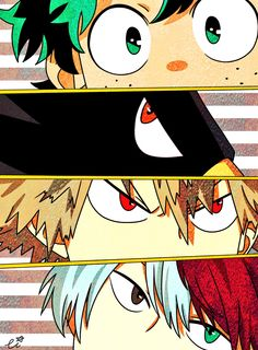 Boku no Hero Academia || Midoriya Izuku, Fumikage Tokoyami, Katsuki Bakugou, odoroki Shouto.