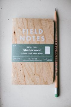 Shelterwood Field #Notes #Notebook *The cover is real wood from sustainable harvest. Fieldnotes.com