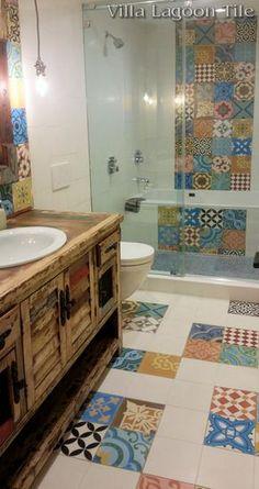 Patchwork cement tile bathroom floor installation, from Villa Lagoon Tile.