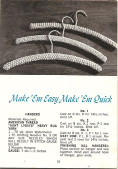 Todays Treasure Shop Talk: Free Pattern Crochet Cover for Wooden Hangers Vintage Knitting, Free Knitting, Free Crochet, Knitting Patterns, Crochet Patterns, Crochet Ideas, Vogue Knitting, Crochet Granny, Loom Knitting