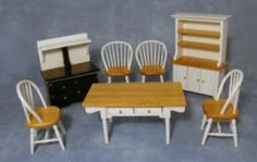 scale white and pine kitchen set.