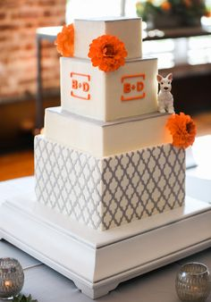 Square cake, silver & orange, modern wedding, white terrier // Jolie Connor Photography
