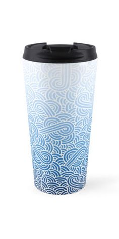 """Ombre blue and white zentangle"" Travel Mug by @savousepate on @redbubble #travelmug #pattern #drawing #doodles #zentangle #abstract #ombreblue #blue #pastelblue #darkblue #navyblue #white #gradientblue"