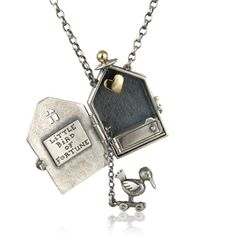 Little bird of fortune, locket - Nick Hubbard (silver, yellow gold)