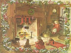 I would love to be sitting by this fire!  (Tasha Tudor )