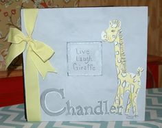 Giraffe Baby Memory Book | Personalized | Yellows and Grays | Personalized Baby Memory Books | Unique Art | Greeting Cards