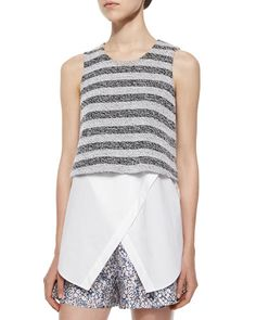 TA3KS Derek Lam 10 Crosby Sleeveless Striped Layered Tank