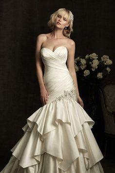 Sweetheart pleat satin wedding dress beige