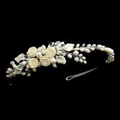 Freshwater Pearl, Rhinestone, Ivory Porcelain Flower and Leaf Side Accented Headband Headpiece