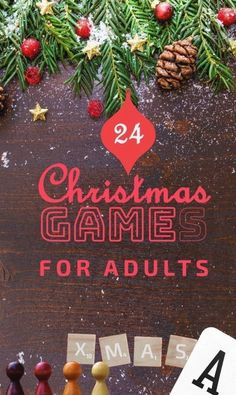 24 Christmas Games for Adults!! Let your next Christmas party be festive and fun with our list including DIY games, board games, cards games and just silly fun games. Christmas Games For Adults Holiday Parties, Christmas Party Games For Groups, Christmas Drinking Games, Funny Christmas Games, Adult Christmas Party, Xmas Games, Holiday Games, Company Christmas Party Ideas, Christmas Activities For Adults