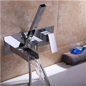 Designed for high quality and durability, the Mero Faucet Collection features solid brass construction and polished chrome finish. With sharp, clean lines throughout, the Mero wall mounted tub f. Floor Standing Lamps, Led Floor Lamp, Contemporary Bathtubs, Wall Mount Tub Faucet, Glass Waterfall, Luxury Bathtub, Shower Valve, Curved Glass, Messing
