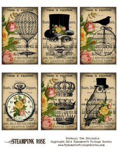 Free Printable - Steampunk-ish Cards It's freebie time!  Here's a set of tags/cards that have a little splash of colour and a steampunk twist.