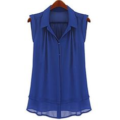 Fashionable Single Breasted Turn-Down Collar Sleeveless Blouse