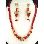 Presenting Eye Catching exclusive range of hand Made Crystals Moti Ghantha Sets with matching earrings.