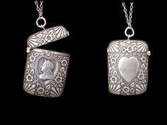 Large Antique Silver Vesta Case Pendant