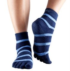 Look what I found on Blue Stripe Gripper Organic Full-Toe Ankle Socks by  ToeSox. veronica jaurena · Style - Sportswear 3 1104b8e90cbef