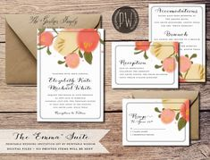 The Emma Suite, from the Printable Wisdom Design wedding invitation collection. Featuring soft dreamy florals in a watercolor style. Modern