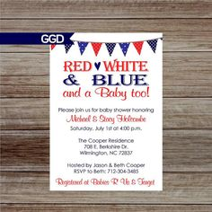 Red White and Blue Baby Shower Invitation https://www.etsy.com/listing/280704650/4th-of-july-baby-shower-invitation-red