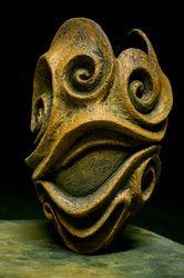 Lovely Terracotta hand carved vase by ceramic artist Allison Anne Brown