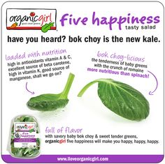 Have you heard? Bok choy is the new kale! It's more nutritious for you than spinach!  #fivehappiness #bokchoy #organicgirl