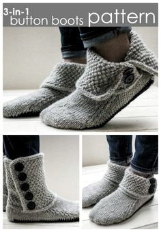 Slipper Patterns Shortlist Love these gorgeous simple button boots slippers knitting pattern! I like all the options! Great looking pattern!Love these gorgeous simple button boots slippers knitting pattern! I like all the options! Great looking pattern! Knitting Socks, Free Knitting, Knitting Machine, Knitting Ideas, Simple Knitting Projects, Knitting Tutorials, Baby Knitting, Crochet Shoes, Knit Crochet