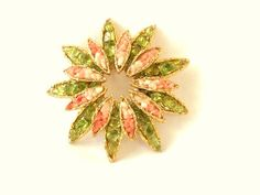Vintage Brooch Flower with Pink Coral and Lime by DejaVuVintiques, $42.00