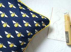 Bumble Bee cushion with bright yellow piping edges. Fresh and full of life! Commissioned job for www.etsy.com/uk/shop/armourlane but can be made to order.