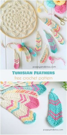 Crochet Stitches Tunisian Tunisian Crochet Feathers Free Crochet Pattern - You will discover how to crochet this beautiful Tunisian crochet feather pattern, as well as a crochet dreamcatcher to dangle your feathers from. Crochet Diy, Mandala Au Crochet, Tunisian Crochet, Crochet Crafts, Yarn Crafts, Crochet Flowers, Crochet Stitches, Crochet Projects, Crochet Ideas