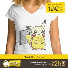 """(EN) """"Charge"""" designed by the astounding Donnie is our NEW T-SHIRT. Available 72 hours, order yours today for only 12€/$14/£10 on >> WWW.WISTITEE.COM <<     (FR) """"Charge"""" créé par l'incroyable Donnie est notre NOUVEAU T-SHIRT. Disponible 72 heures, réservez-le dès maintenant pour seulement 12€/$14/£10 sur >> WWW.WISTITEE.COM <<     #Pikachu #Pokemon #courant #chargement #mignon #power #charge #cute #electric #souris #mouse #Sacha #anime #manga #japan #PokemonGo #videogame #videogames…"""