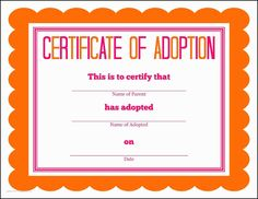 Birth Certificate Downtown Awful Toy Adoption Certificate throughout New Toy Adoption Certificate Template – Amazing Certificate Template Ideas Free Pet Adoption, Rabbit Adoption, Adoption Papers, Adoption Party, Animal Adoption, Adoption Center, Animal Rescue, Certificates Online, Ideas Party