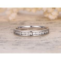 Diamond Wedding Ring 14K White Gold Half Eternity Band Channel Set Anniversary Ring