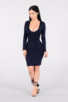 - Available in Dark Mocha and Midnight - Mini Dress - V Neckline - Long Sleeve - 95% Rayon 5% Spandex, Lining 100% Polyester