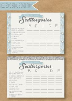 Bridal Scattergories game for a bridal shower. Super cute with lace and pearls.
