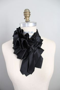 Triple Ruff in Black Satin by Lilian Asterfield