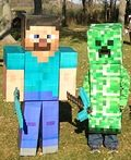Minecraft Steve and Creeper Homemade Costumes - 2013 Halloween Costume Contest