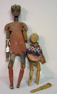 788: TWO FOLK ART WOODEN DOLLS. Both are wood : Lot 788
