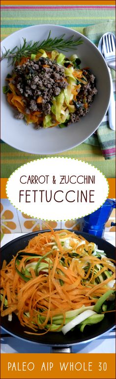 Long, thin fettuccine ribbons tossed through fragrant oil in a hot pan and served al dente with your favorite pasta sauce. Bring it on. Carrot and zucchini are just right for making great flat, strips and there are no special appliances required. Paleo, AIP, Whole 30, and so easy! Cick through and follow!