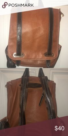 Backpack Beautiful rich tan and brown leather roomy backpack in great condition!! Bags Backpacks