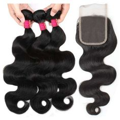 【Bundles With Closure】Mink Hair Grade Virgin Indian body wave Hair Bundles Deals With Closure 3 Bundles Unprocessed Indian body wave Remy cheap hair extensions With Closure Body Wave Weave, Body Wave Hair, Best Weave Hair, Cheap Hair Extensions, Hair Bundle Deals, Indian Human Hair, Hair Painting, Lace Closure, Hair Day