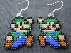 Handmade Seed Bead Mini Luigi Earrings by Pixelosis