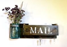 A personal favorite from my Etsy shop https://www.etsy.com/listing/247707587/mason-jar-mail-organizer-rustic-mail