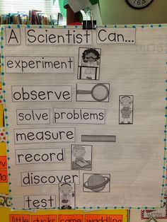 Great way to introduce the scientific processes but in language that a kindergartner can understand. Picture representations also add a element that is essential for kindergarten understanding Chalk Talk: What Can a Scientist Do? Science Inquiry, Primary Science, Preschool Science, Elementary Science, Science Classroom, Science Lessons, Science Education, Teaching Science, Science For Kids