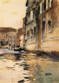 WaterMedia John Singer Sargent (1856 — 1925, USA) Venetian Canal, Palazzo Corner. 1880 watercolour on paper. 22,86 x 31,75 cm.