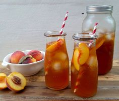 Sweetened Peach Iced Tea Recipe Beverages with peaches, tea bags, water, granulated sugar
