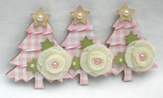 Sweet Christmas Tree Embellishments  Pink and by KindrasCreations