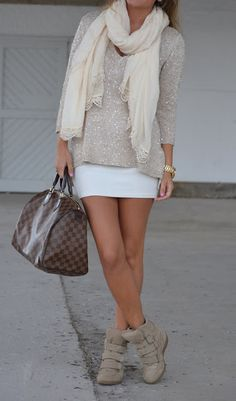 sneaker wedges with girly sweater... love it